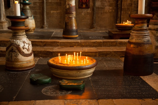 candles in Lincoln Cathedral. Dedicated to St Gilbert of Sempringham