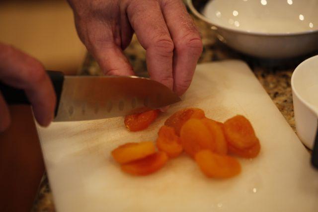 chopping apricots