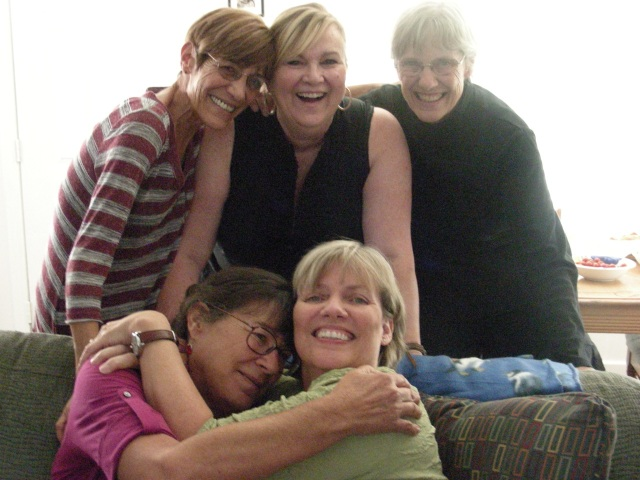 back: cousin Kathleen, my friend Allegra, my sister front: Caprice(sister of Allegra) and me