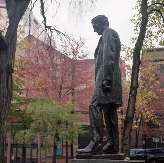 Lincoln watching over the Park blocks