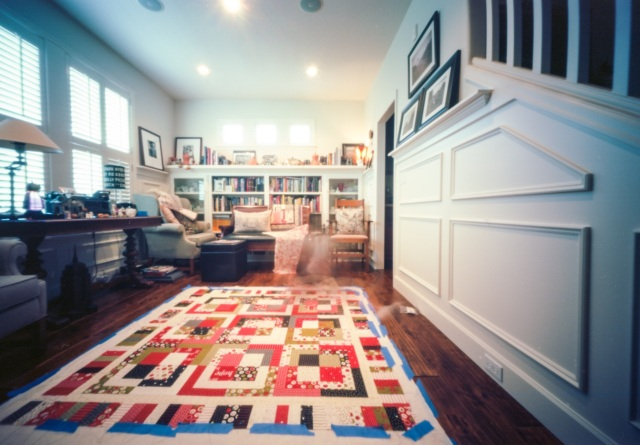 quilting and reading at home