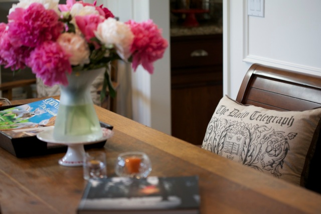 "peonies in the dining room with my just arrived book ""Obscura"""