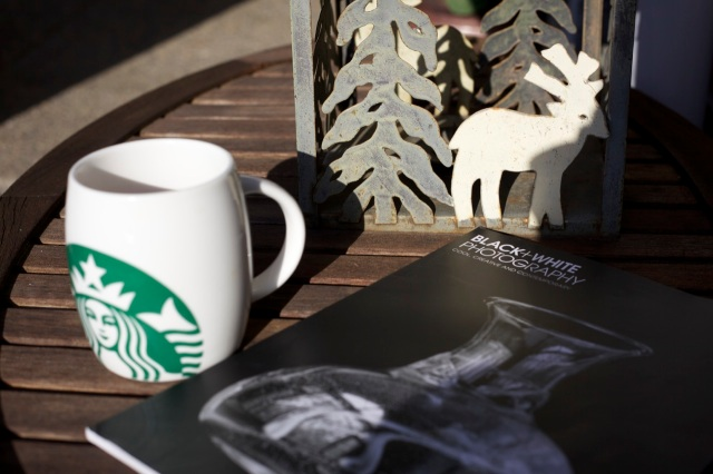 "morning coffee and the British Photography magazine: ""Black and White photography"""