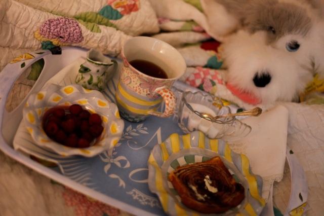 berries, cinnamon toast and tea served on MacKenzie-Child china