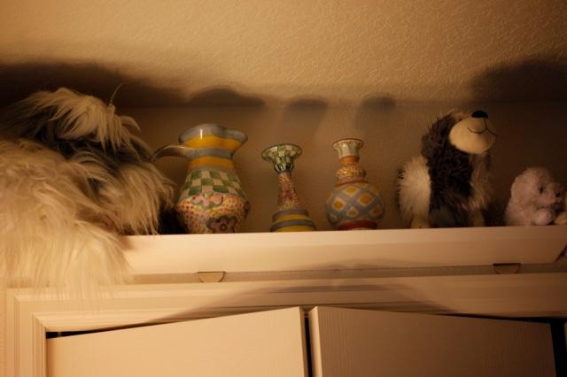 MacKenzie-Child pottery and stuffed animals