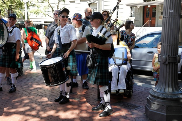 Kells Pub bag pipers lead the parade from Pioneer Courthouse Square up to the stadium.