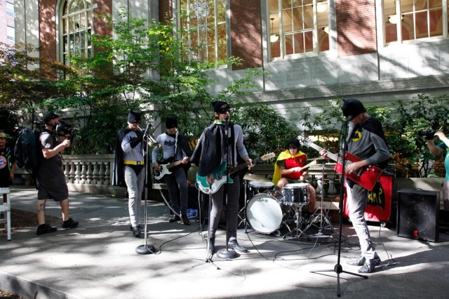 several bands lined the parade route. this one dressed as Batman and played the theme song. hilarious