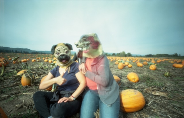 sitting in the pumpkins